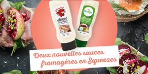 Deux nouvelles sauces fromagères au Boursin® et à La Vache qui rit® en format squeeze