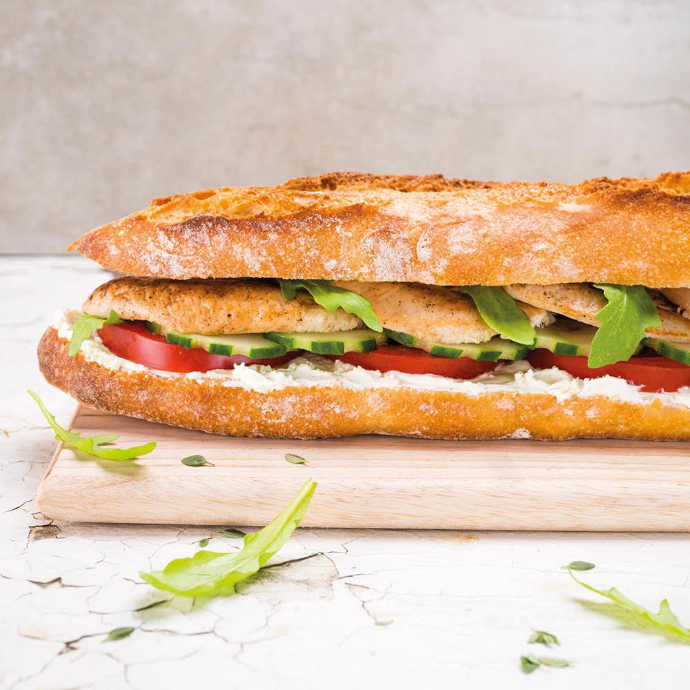 Sandwich poulet crudités 100% bio