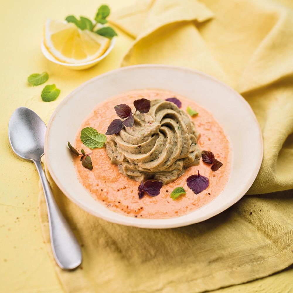 Caviar d'aubergine mixé, sauce vierge