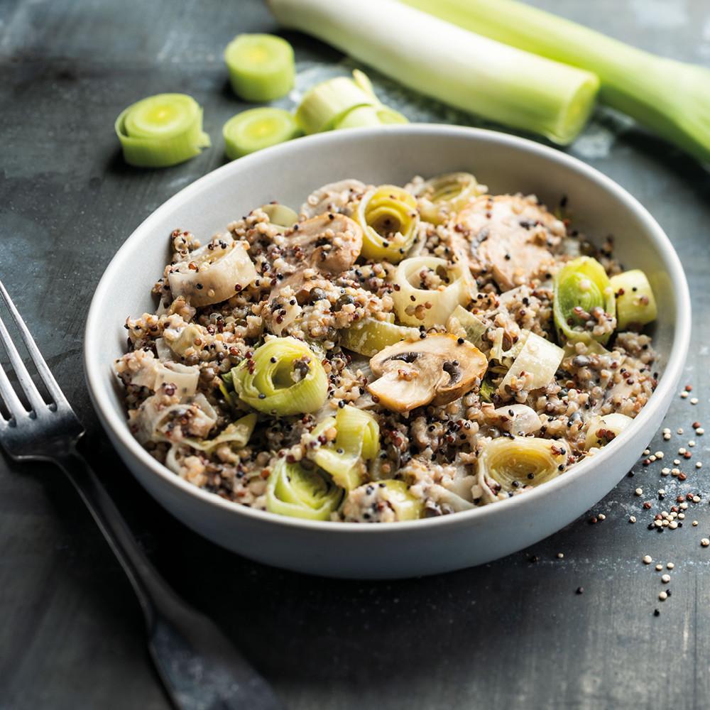 Quinoa aux poireaux et champignons