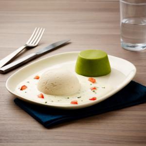 Filet de colin à l'estragon, haricots verts texture mixée