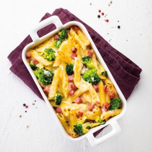 Gratin de macaronis au jambon et brocolis