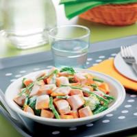 Poêlée de patates douces et légumes verts
