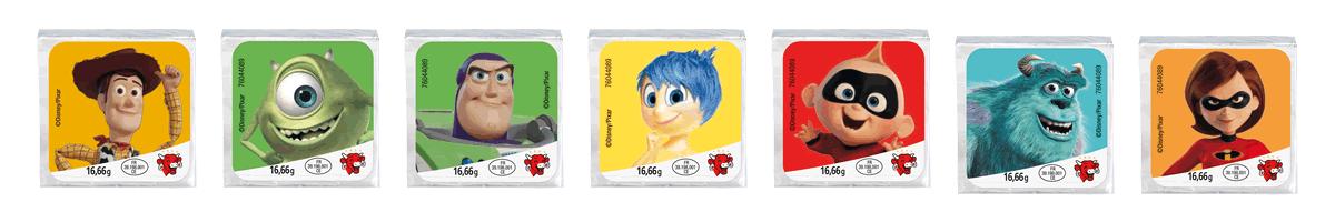 Fromages portion avec les héros Pixar